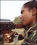 A woman Tamil Tiger rebel