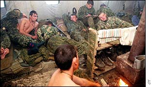 Russian paratroops resting in Chechnya