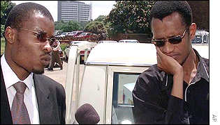 Basildon Peta (right) and his lawyer, Tawanda Hondora