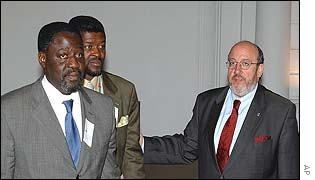 Francois Lumumba (L) with Louis Michel (R)