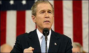 President Bush delivering his State of the Union address
