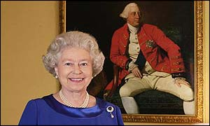 Fiona Hanson's portrait of Queen Elizabeth II in front of a 1771 portrait by Johann Zoffany of George III