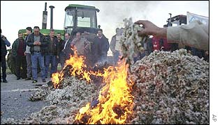 Farmers' demonstration burning cotton