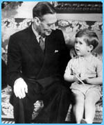 The Queen's father with a young Prince Charles