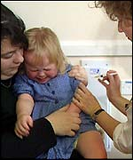 child receiving injection
