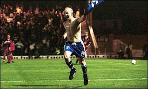 Rochdale's young star Kevin Townson celebrates a goal against Fulham in the FA Cup