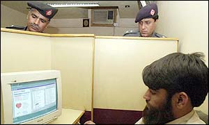 Police in cyber cafe