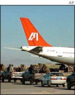 The hijacked Air India plane at Kandahar.