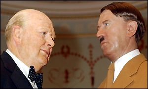 Waxwork models of Winston Churchill and Adolf Hitler