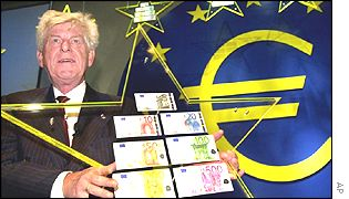 Wim Duisenberg at the launch of the euro