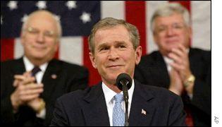 Presidente de EE.UU., George W. Bush hablando al Congreso.