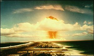The mushroom cloud from a nuclear bomb explosion