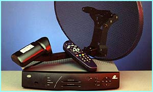 A Sky Digital satellite TV dish and top box