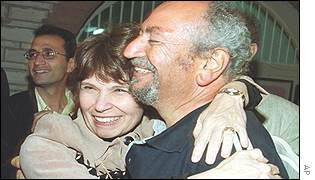 Saad Eddin Ibrahim hugs his American wife Barbara