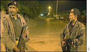 Karachi policemen at night