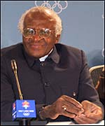 Desmond Tutu makes his address at Salt Lake City