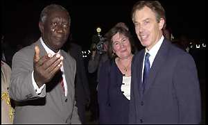 Ghanaian president John Kuffuor and Tony Blair