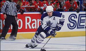 Dmitry Yushkevich in action for the Toronto Maple Leafs