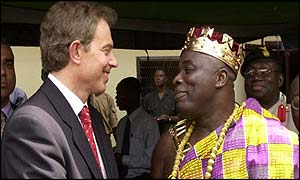 Tony Blair and Paramount Chief Osagyefuo Amoatia Ofori Panin in the village of Kyebi, Akyem Abuakwa, Ghana