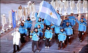 Argentina's team carry the flag