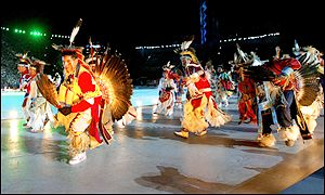 Native indian dancers perform for the crowd