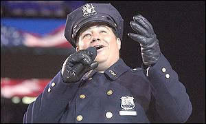 NYC policeman Daniel Rodriguez was selected to sing to the crowd before the ceremony