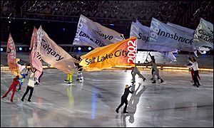 The skaters give a visual focus to events