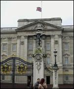 Flag at half mast at Buckingham Palace