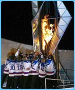 The Olympic flame is lit in Salt Lake City