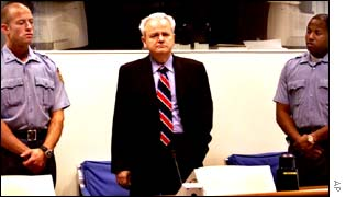 Slobodan Milosevic on trial at The Hague