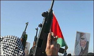 Militants firing into the air in Palestine
