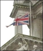 The Union Flag is flying at half mast at Belfast City Hall
