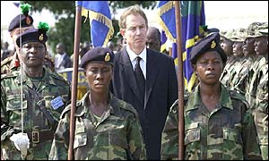 Tony Blair with Sierra Leone troops