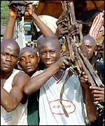 Sierra Leonean rebels handing in their guns
