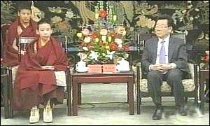 Panchen Lama with Chinese communist party Chairman Lee Ruihuan