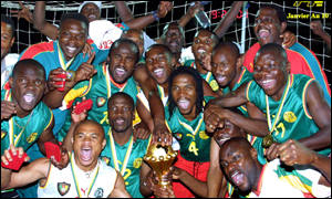 Cameroon celebrate winning the Nations Cup