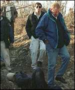 Former chief of the OSCE mission in Kosovo William Walker at the scene of the massacre