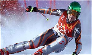 Austria's Fritz Strobl wins the Olympic men's downhill gold after a thrilling run at Snowbasin.