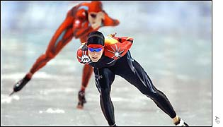 Germany's Claudia Pechstein smashes the 3000m world record on her way to winning Olympic gold at Salt Lake City.