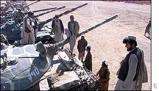 Russian-built tanks and new national army recruits in Kandahar