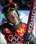 Fritz Strobl after his downhill success