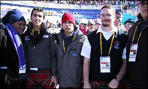 The Scottish members of the British Olympic squad are being treated to some traditional pipe music in Salt Lake City.