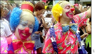 Men dressed as clowns