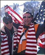 American ski watchers at the downhill event