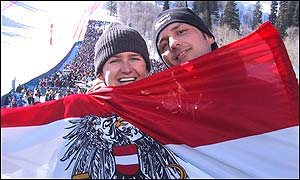 Austrian fans at the downhill