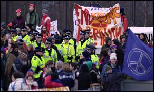 protesters at Faslane naval base
