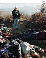 Bodies from the Racak massacre in Kosovo