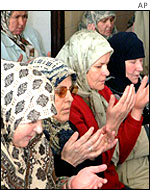 Survivors of the Srebrenica massacre praying in Sarajevo