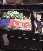 The coffin of the late Princess Margaret