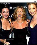 Actresses Courtney Cox Arquette, Jennifer Aniston and Lisa Kudrow